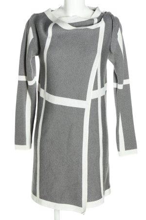 Object Manteau en tricot gris clair-blanc motif rayé style d'affaires