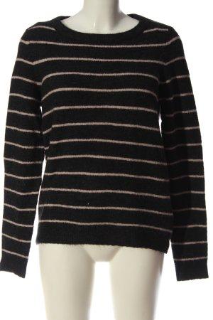 Object Sweter z dzianiny czarny-kremowy Wzór w paski W stylu casual