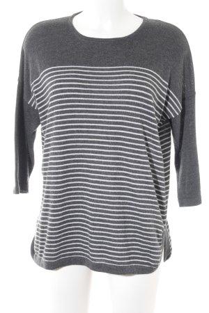 Object Strickpullover grau-weiß Streifenmuster Casual-Look