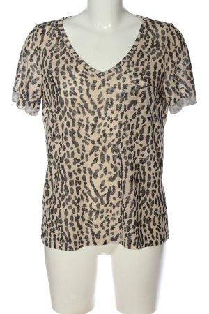 Object Camisa tejida crema-negro estampado de leopardo look casual