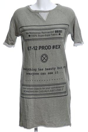 Object Sweatkleid hellgrau-schwarz Schriftzug gedruckt Casual-Look