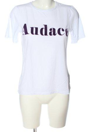 Object T-shirt bianco-lilla caratteri stampati stile casual