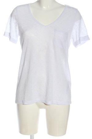 Object T-shirt col en V blanc moucheté style décontracté