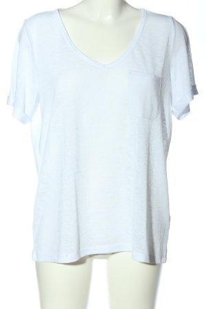 Object V-Ausschnitt-Shirt weiß meliert Casual-Look