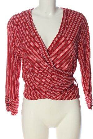 Object Blusa cruzada rojo-blanco estampado a rayas elegante