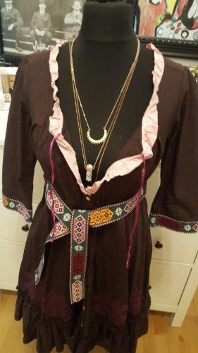 Odd Molly Azteken Kleid mit Gürtel braun bestickt