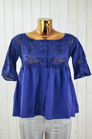 ODD MOLLY Damen Bluse Tunika Lochmuster Spitze Geblümt Baumwolle Blau Gr.1/36