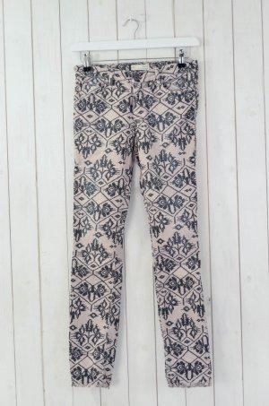 ODD MOLLY Damen Jeans Beige Schwarz Ethno-Muster Baumwolle Elasthan Stretch 1/36