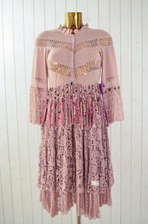 ODD MOLLY Damen Kleid Hippiekleid Baumwolle Polyester Spitze Fransen Puder 1/36