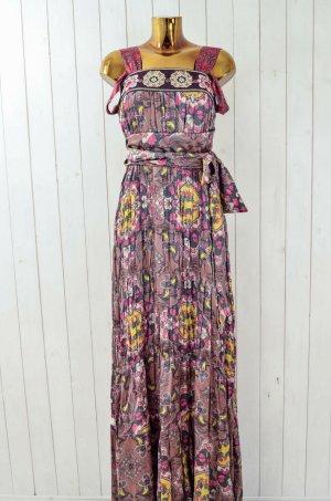 ODD MOLLY Damen Kleid Maxikleid Seide Baumwolle Bunt Geblümt Bestickt Gr.1/36
