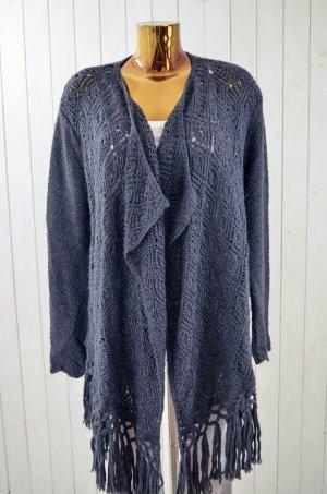 ODD MOLLY Damen Strickmantel Anthrazit Grobstrick Muster Wolle Polyacryl Gr.1/ 36