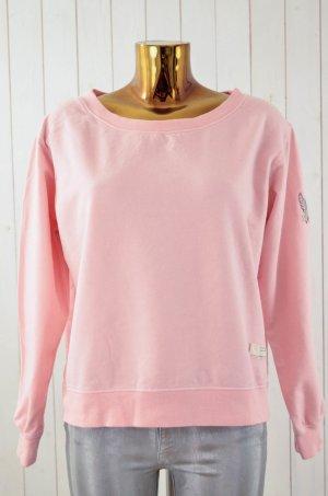 ODD MOLLY Damen Sweatshirt Rosa U-Ausschnitt Langarm Baumwolle Elastan Gr.1/36