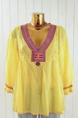 ODD MOLLY Damen Tunika Bluse Seide Baumwolle Mod. 777 Gelb Bunt Etno Gr.1/36