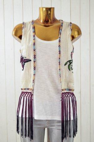 ODD MOLLY Damen Weste Hippie Baumwolle Netz Bestickt Schmetterling Gr.1/36 Neu!