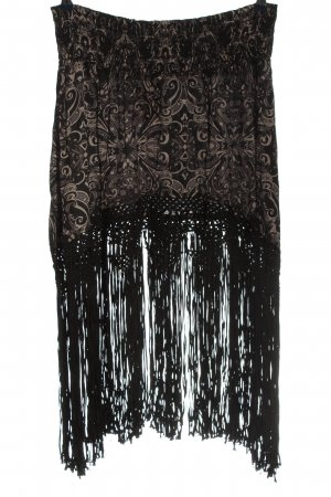 Odd Molly Fringed Skirt black-brown abstract pattern elegant