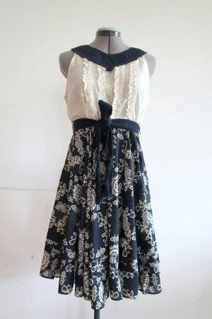 Odd Molly Kleid mit Tellerrock Baumwolle/Seide Gr. 38 (Gr. 2) cremeweiß u. blau