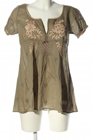 Odd Molly Kurzarm-Bluse khaki-creme Blumenmuster Casual-Look