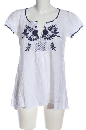 Odd Molly Kurzarm-Bluse weiß-blau Blumenmuster Casual-Look