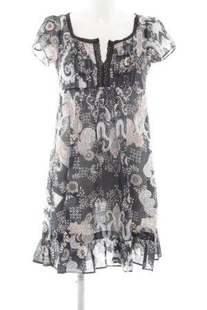Odd Molly Kurzarmkleid schwarz-weiß Blumenmuster Casual-Look