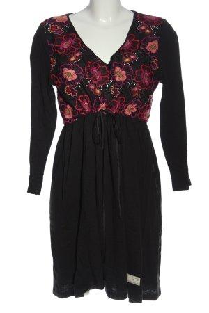 Odd Molly Abito a maniche lunghe nero-rosa motivo floreale stile classico