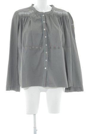 Odd Molly Long-Bluse graubraun-hellgrau Bänderverzierung