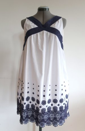 Odd Molly Babydoll Dress white-dark blue cotton
