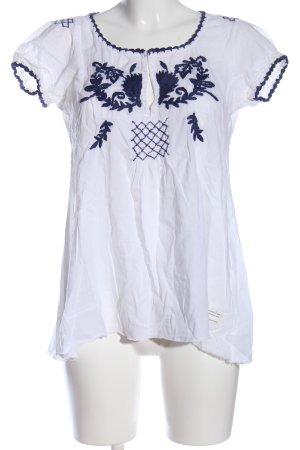 Odd Molly Schlupf-Bluse weiß-blau Blumenmuster Casual-Look