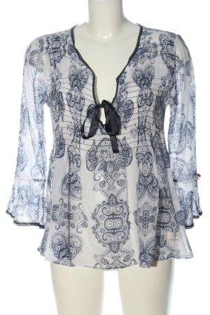 Odd Molly Camicetta da notte bianco-blu stampa integrale stile casual