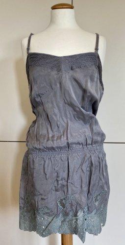 ODD MOLLY Seide Minikleid S 36 grau Tunika Volants Mini Kleid wie NEU