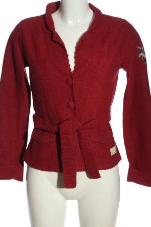 Odd Molly Cardigan in maglia rosso punto treccia stile casual