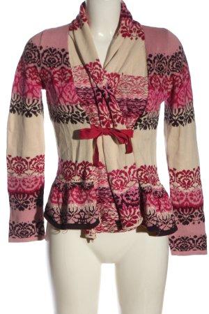 Odd Molly Cardigan in maglia rosa-crema motivo astratto stile casual