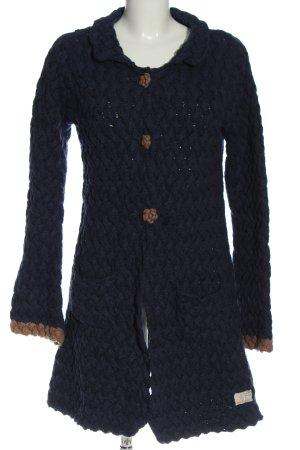 Odd Molly Giacca in maglia blu-bianco sporco punto treccia stile casual