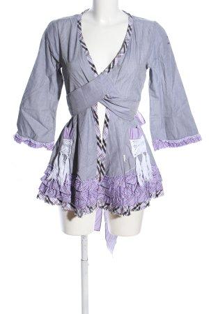 Odd Molly Blusa a tunica grigio chiaro-lilla motivo a quadri stile festa