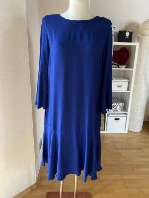 ODEEH Designerkleid blau Kleid Volant Trompetenärmel royalblau