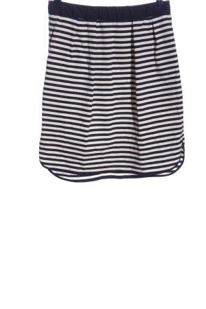 Odeeh Jupe taille haute blanc-noir motif rayé style décontracté