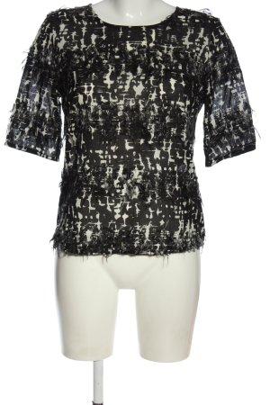 Odeeh Kurzarm-Bluse schwarz-weiß abstraktes Muster Casual-Look
