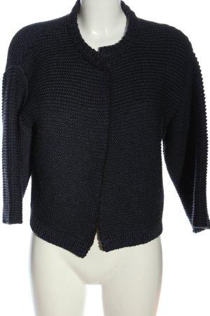 Odeeh Strick Cardigan blau-schwarz Streifenmuster Casual-Look