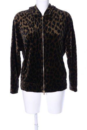 Odeeh Giacca fitness marrone-nero Stampa leopardata stile casual