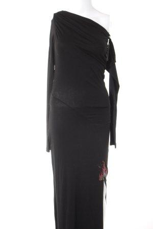 ODEON Maxikleid schwarz-rot abstraktes Muster schlichter Stil