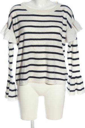 ODEON Rundhalspullover weiß-schwarz Streifenmuster Casual-Look