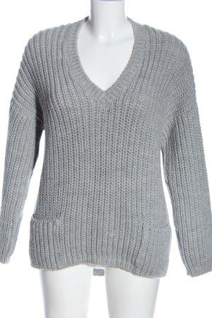 ODEON V-Ausschnitt-Pullover hellgrau Casual-Look