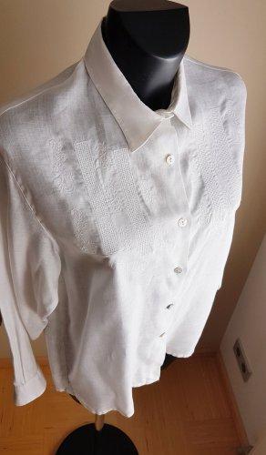 """""""Of-White""""  Reines Leinen Hemd Bluse, zart Stickerei, gr. 38/40/42  Lovely feminin vintage"""