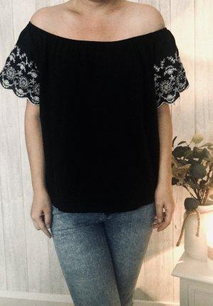 H&M Eénschoudershirt zwart-wit