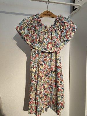 Off-shoulder Blumenkleid mit Taschen