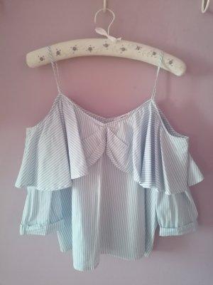 off-shoulder Bluse blau/weiß