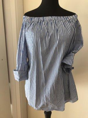 Slip-over blouse wit-korenblauw Katoen