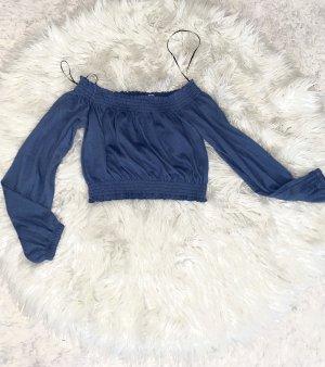 Off Shoulder Bluse in Blau Neu gr. S