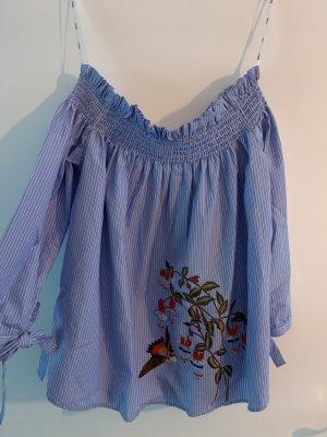 Off-Shoulder Bluse mit Print