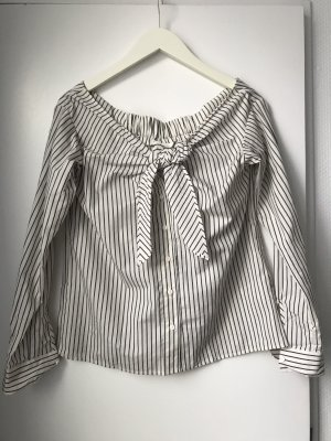 Off-Shoulder Bluse mit Schleife, gestreift