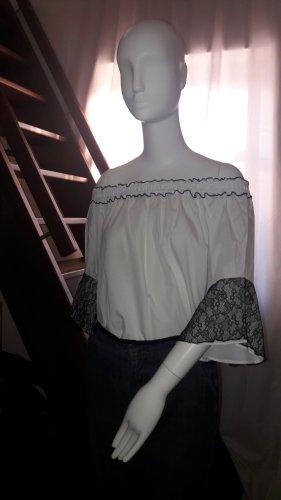 Zara Basic Bluzka typu carmen biały-czarny